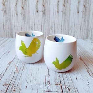 DAVIDS TEA | Rare Multi Color Bird Bubble Cups